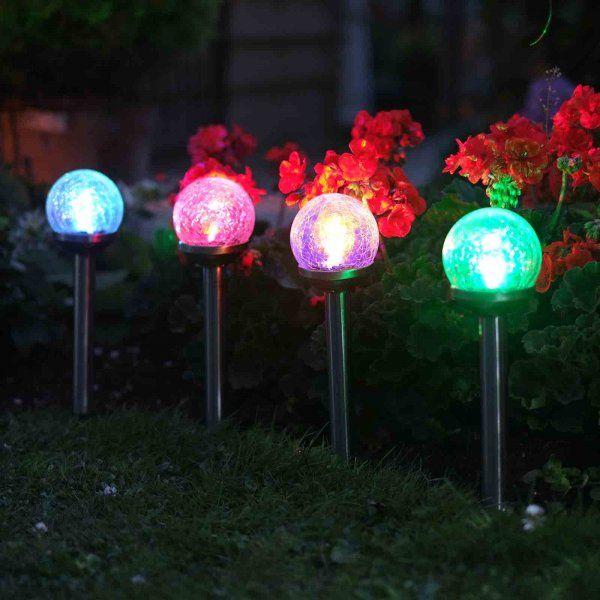 5pc Solar Crackle Globe Stake Light