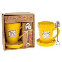 Sisters Yellow Flowerpot Mug , Saucer and Spade Spoon Gift
