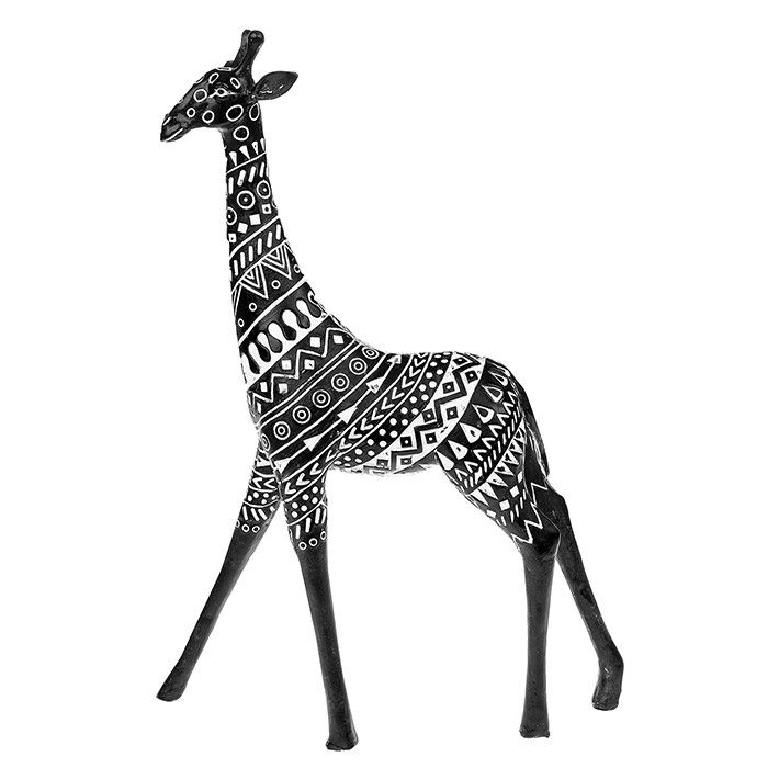 Aztec Tribal Black Tall Standing Giraffe