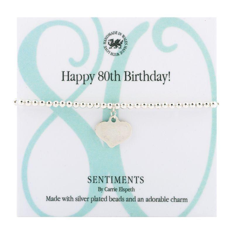 Carrie Elspeth Bracelet 'Happy 80th Birthday' Sentiment Gift Card