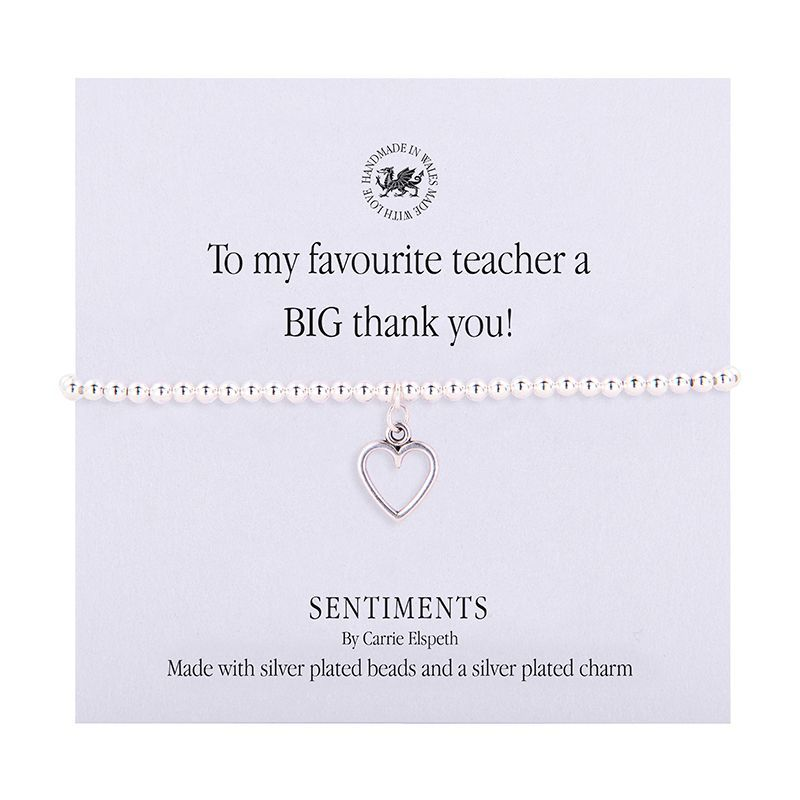 Carrie Elspeth 'To my favourite teacher a BIG thank you!' Sentiment Bracelet