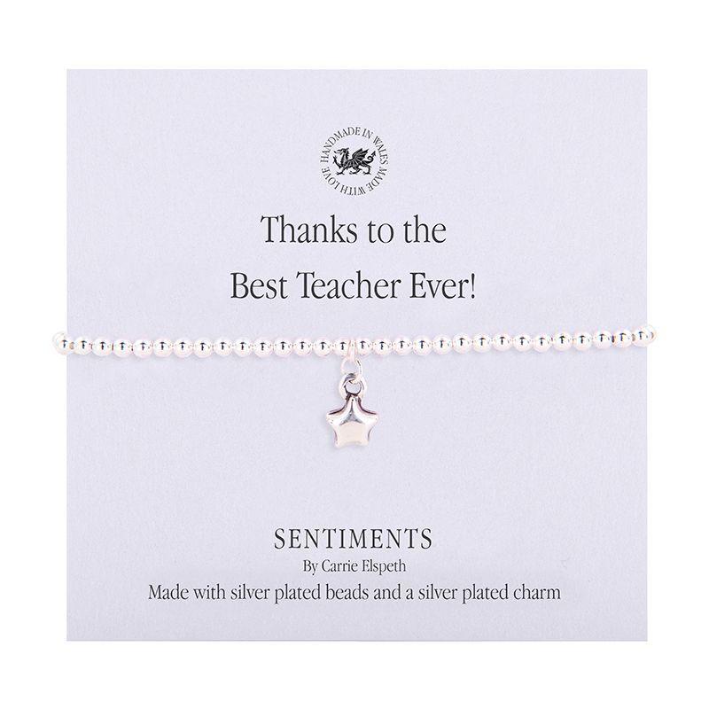 Carrie Elspeth 'Thanks to the Best Teacher Ever!' Sentiment Bracelet