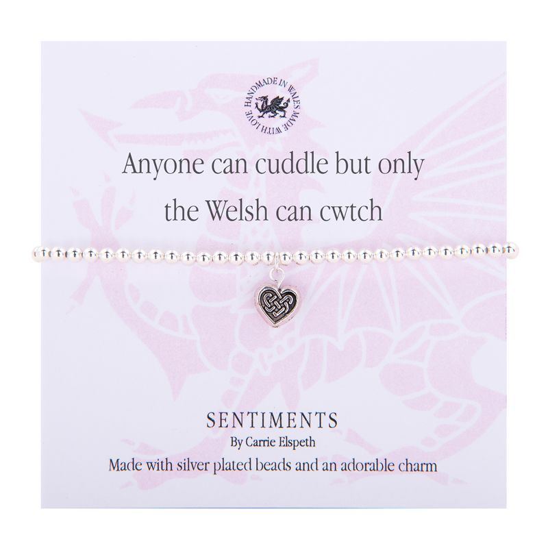Carrie Elspeth Bracelet '..Only the Welsh can Cwtch' Gift Card Wales Charm