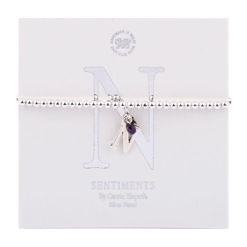 Carrie Elspeth Sentiment Bracelet Letter N