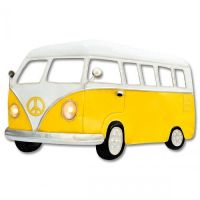 Large Yellow Camper Van Metal Wall Art With Working LED Headlights