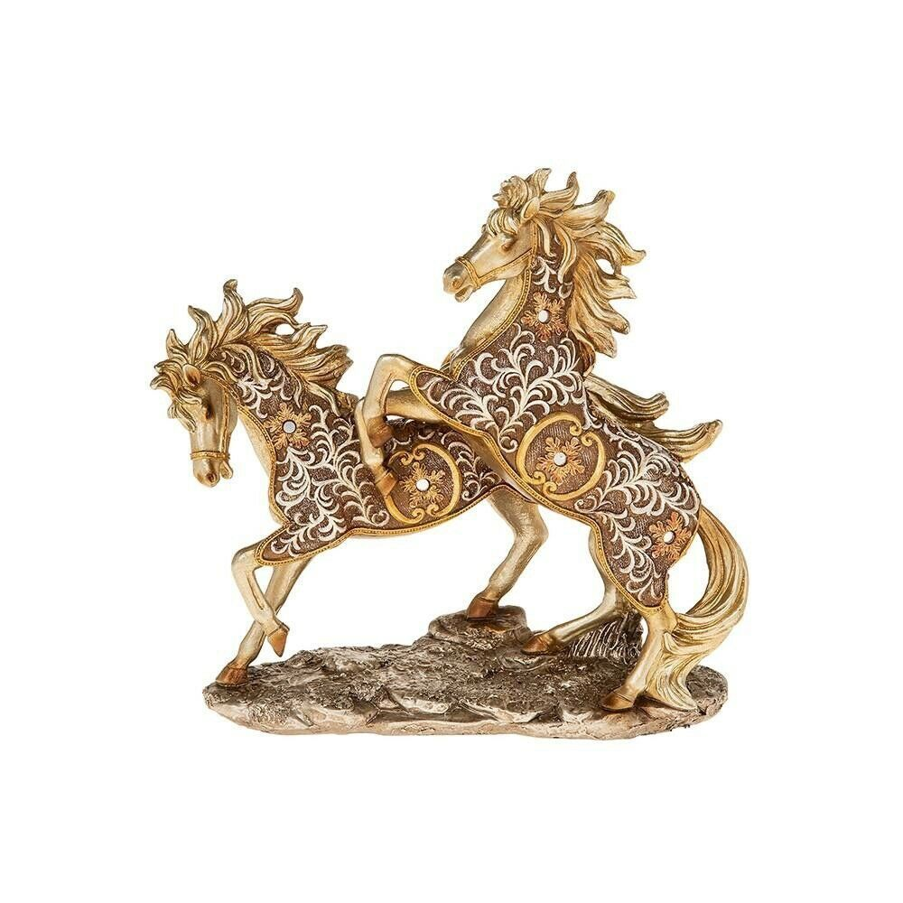 Large Filigree Gold 2 Frolicking Horses Ornament