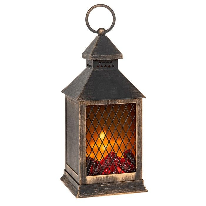 LED Eternal Fire Flickering Flame Lantern Black & Gold Small