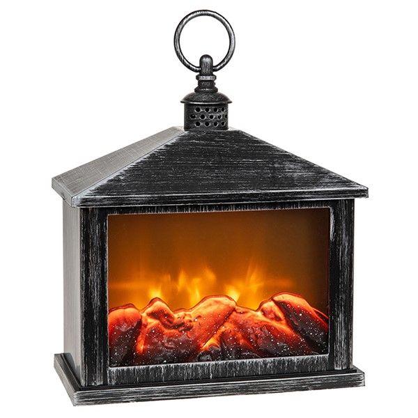 LED Eternal Fire Flickering Flame Lantern Black & Silver Large