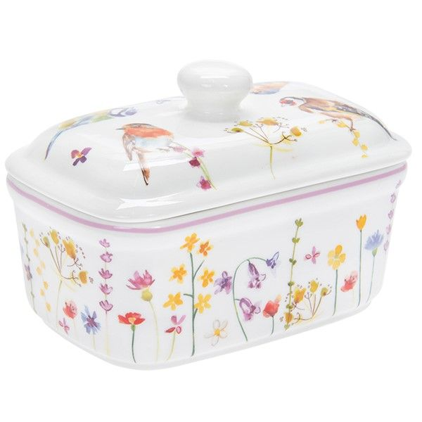Garden Birds China Butter Dish With Lid