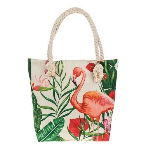 Large Tropical Flamingo Canvas Zipped Tote Bag