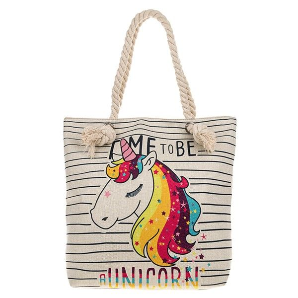 Large  Fabric Unicorn Zipped Tote Bag With Rope Handles