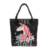 Large Fabric Star Keeper Unicorn Zipped Tote Bag With Rope Handles