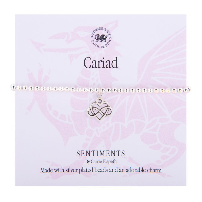 Carrie Elspeth Bracelet 'Cariad/Love' Gift Card Wales Infinity Heart Charm Bangle