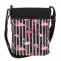 Flamingo Flat Shoulder Bag Black