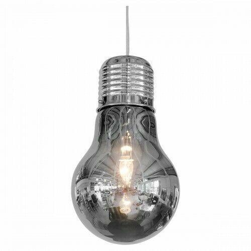 Large Smoked Grey Bulb Shaped Ceiling Light