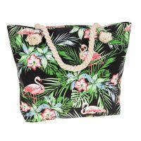 Large Tropical Flamingo Leaves Canvas Zipped Tote Bag
