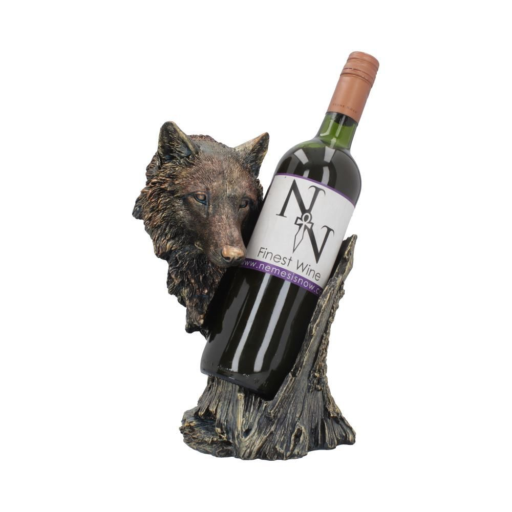 Bronze Call of the Wine Wolf Hand Painted Resin Wine Bottle Holder