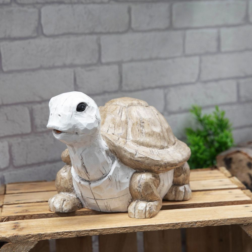 Carved Wood Effect Weather Resistant Resin Garden Ornament Tortoise