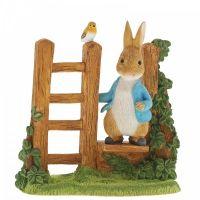 Beatrix Potter Peter Rabbit on Wooden Stile Figurine