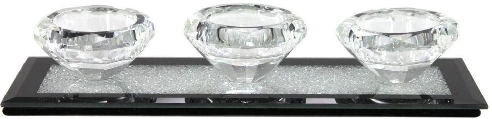 Diamond Triple Tealight Holder With Black Sparkling Base