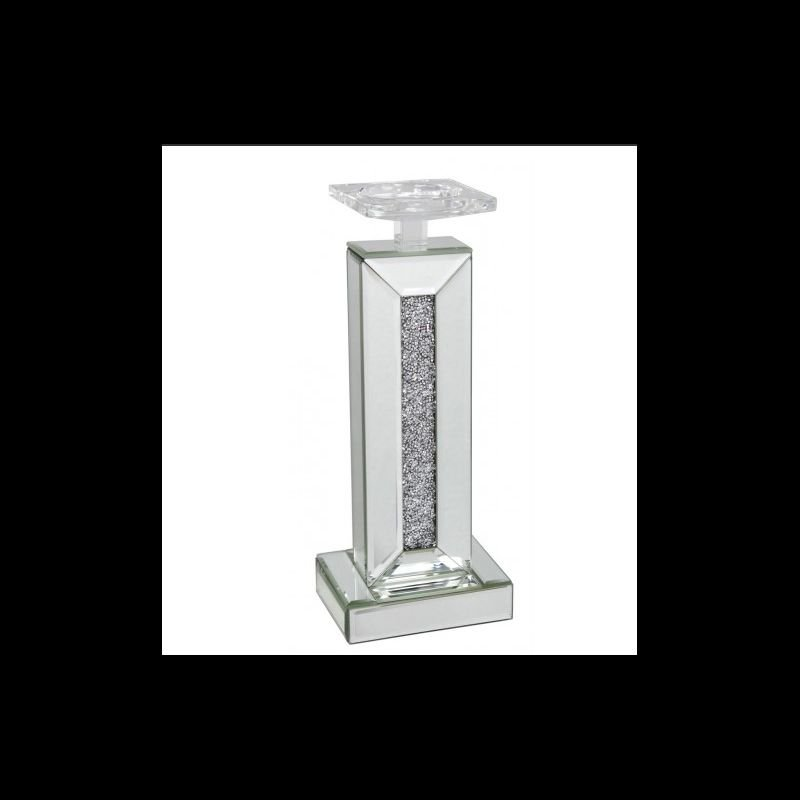 34cm Milano Mirror Diamond Crush Candle Holder
