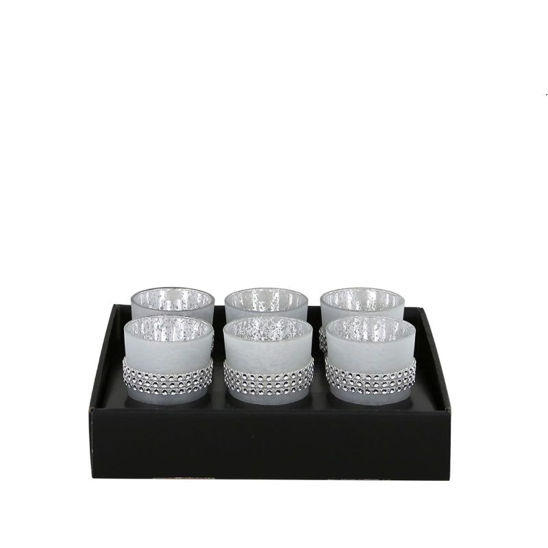 Set Of 6 Medium Boxed Glitz Diamante Tealight  Candle Holders Frosted Silver