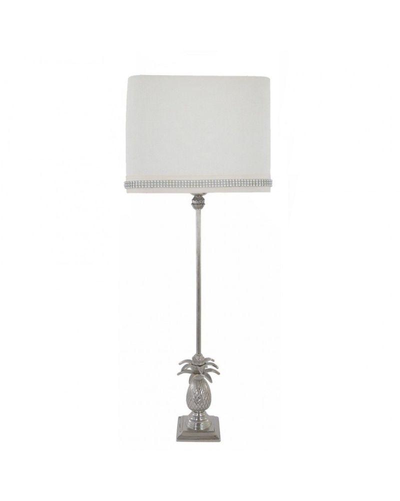"Nickel Pineapple Tall Table Lamp With 10"" Cream Diamante  Shade"