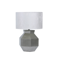 Silver Ceramic Geometric Hexagon Table Lamp with White Cotton Shade