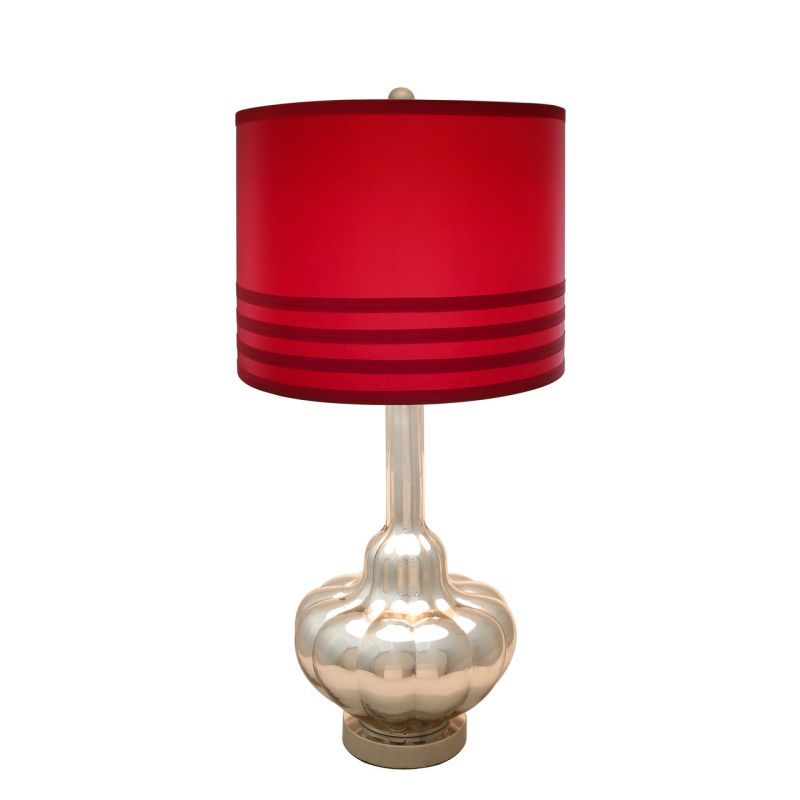 Tall Silver Glass Table Lamp with Red Shade