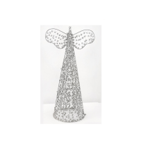 Large 42 cm Silver Wire & Beaded Table Top Angel Christmas Decoration