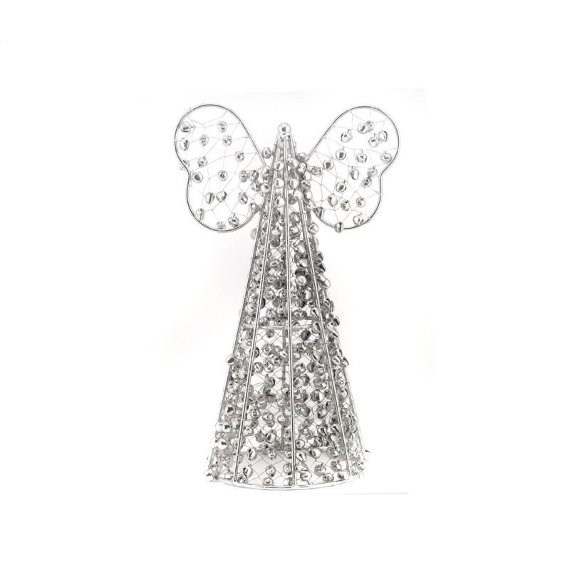 24 cm Silver Wire & Beaded Table Top Angel Christmas Decoration