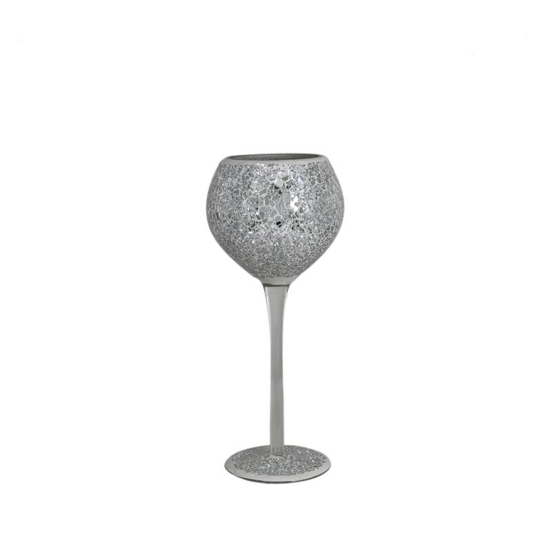Silver  Sparkle Crackle Mosaic Goblet Candle/Tea Light Holder 28cm