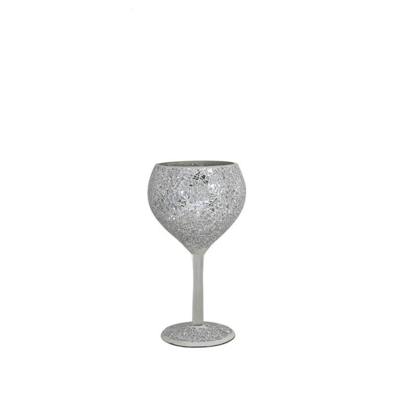Silver  Sparkle Crackle Mosaic Goblet Candle/Tea Light Holder 22cm