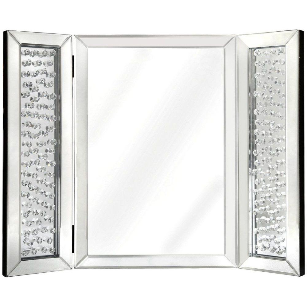 Astoria Floating Crystal Tri-fold Vanity Mirror
