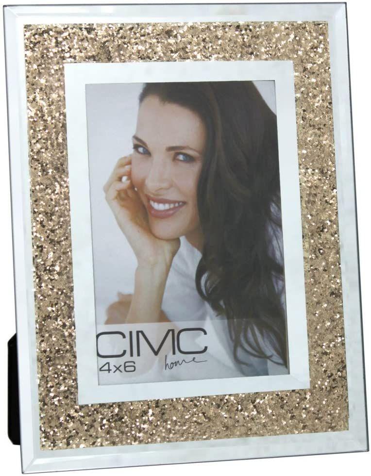 Mirror Gold Diamond Crush Glitter Photo Frame 4 x 6
