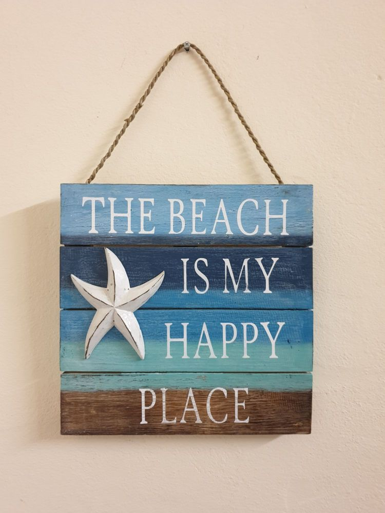 The Beach is my Happy Place Wooden Plaque