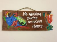 No Working Parrot Bar Wooden Plaque