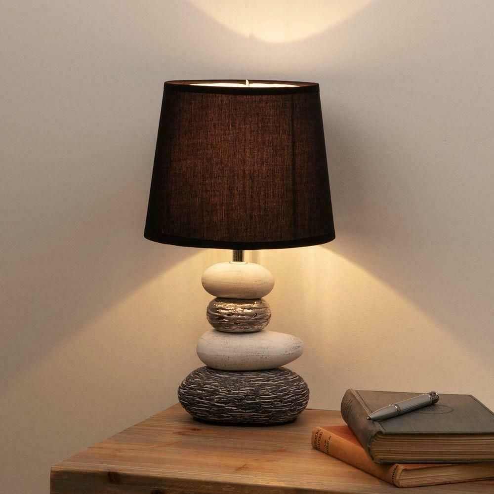 Grey Silver And White Pebble Table Lamp With Black Cotton Shade