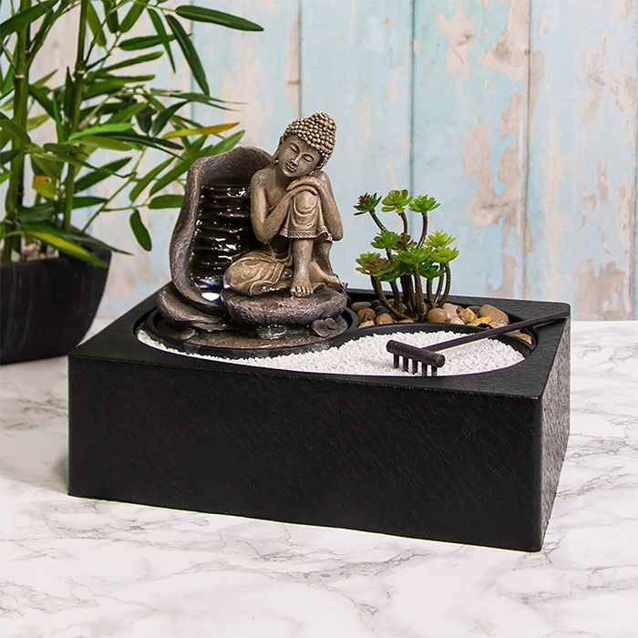 Tranquility Water Fountain Buddha Garden LED Light - Indoor Water Feature - 240v Mains