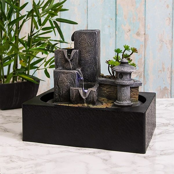 Tranquility Water Fountain Garden LED Light - Indoor Water Feature - 240v Mains
