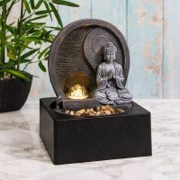 Buddha Water Fountain LED Light, Spinning Orb - Indoor Water Feature - 240v Mains