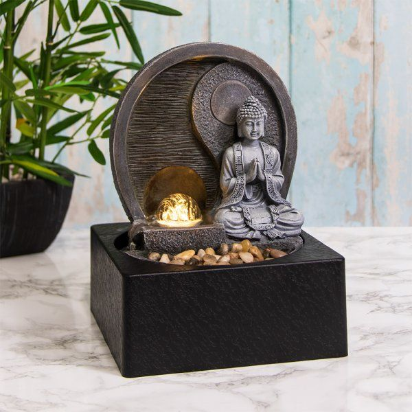 Buddha Water Fountain LED Light, Spinning Orb - Indoor Water Feature - 240v