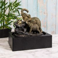 Elephant Water Fountain LED Light, Spinning Orb - Indoor Water Feature - 240v Mains