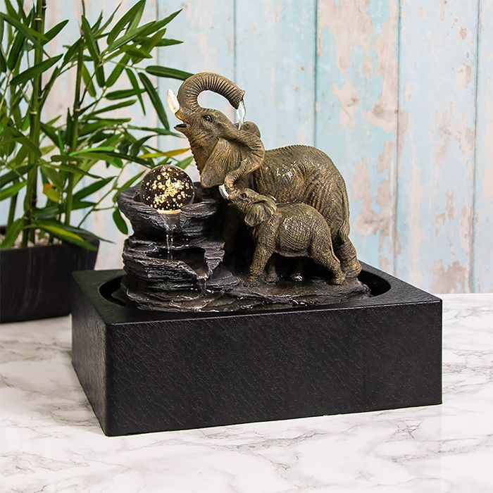 Elephant Water Fountain LED Light, Spinning Orb - Indoor Water Feature - 24