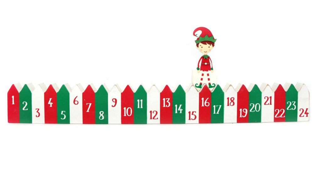 Elf  Wooden Advent Calendar  24 Day Christmas Countdown Decoration