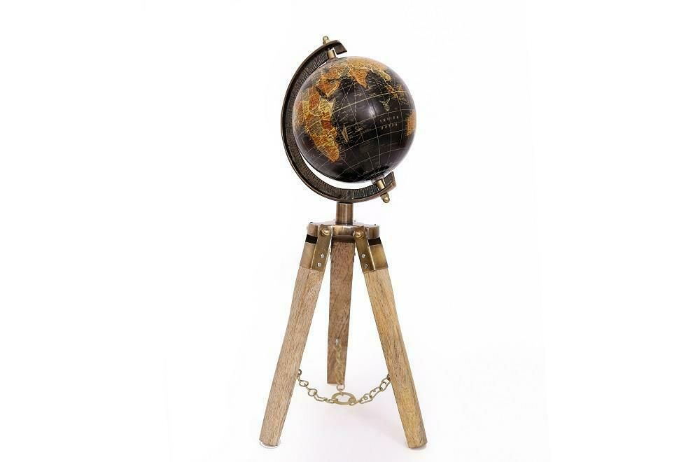 World Globe On  Wooden Tripod Stand Home and Office Decoration