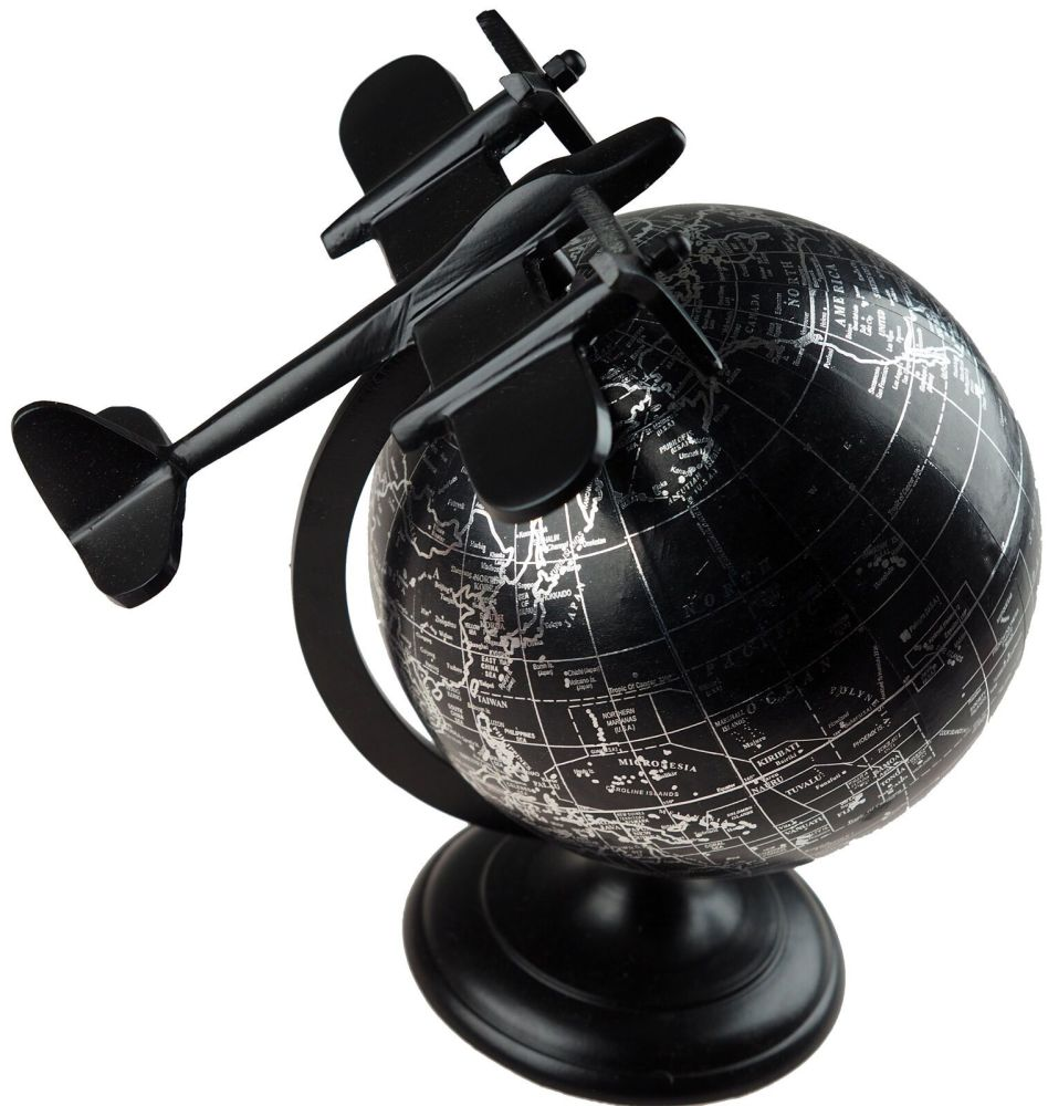 Black Free Standing  Rotating Globe Ornament With Airplane