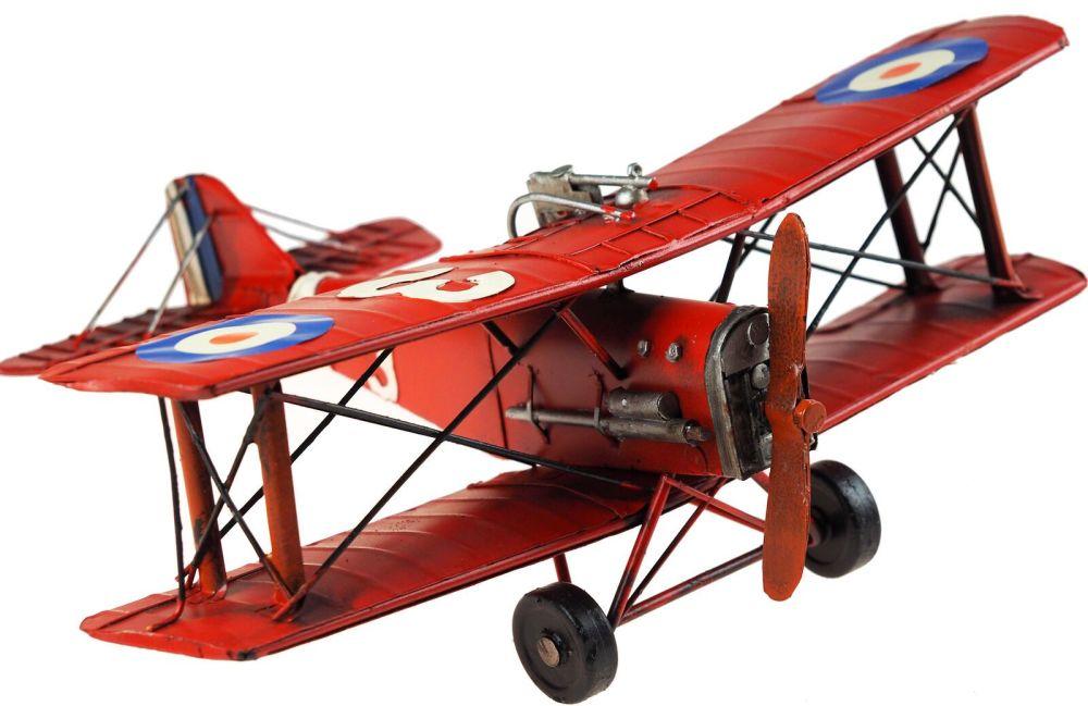 Large Metal Red Plane Decorative Model Fighter Bi Plane