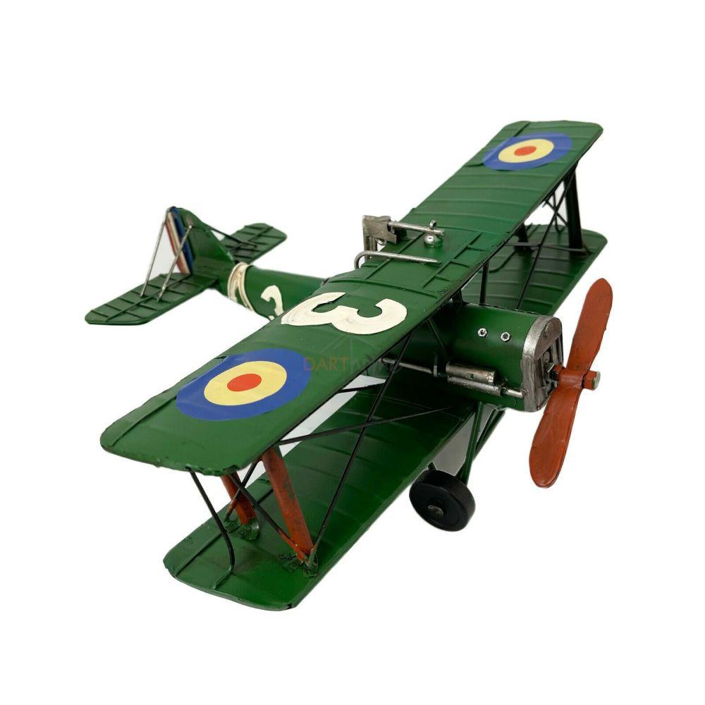 Large Metal Green Plane Decorative Model Fighter Bi Plane