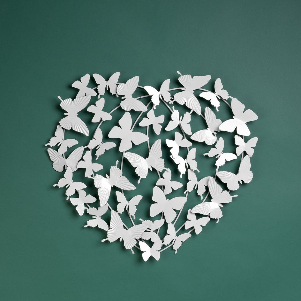 Stunning White Metal Wall Art Decor - Heart Shaped Butterfly Cluster 50 cm